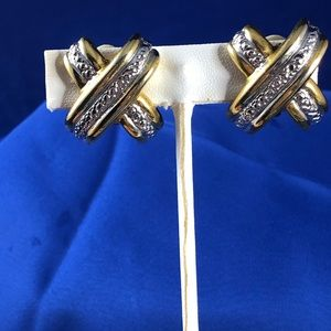 Vintage Clip On Gold and Silver Tone Earrings